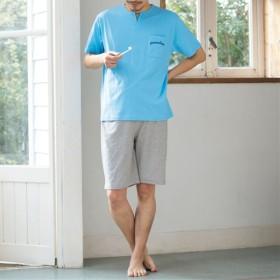 10%OFF【レディース】 綿100%半袖&ハーフパンツパジャマ(男女兼用) ■カラー:ブルー ■サイズ:3L,L,LL,5L,S,M