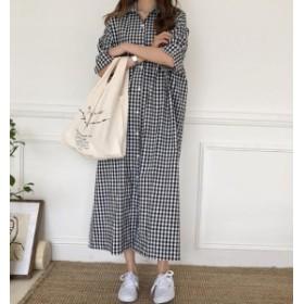 オルチャン 韓国 ファッション ギンガムチェック ワンピース ロングワンピース シャツワンピ ロング丈 大きいサイズ 半袖 ゆったり