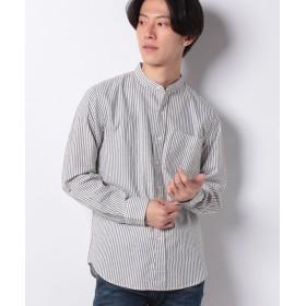 【50%OFF】 コエ 綿麻ロンスト&ギンガムバンドカラーシャツ メンズ カーキ LL 【koe】 【セール開催中】