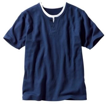 フェイクレイヤードヘンリーネック半袖Tシャツ Tシャツ・カットソー
