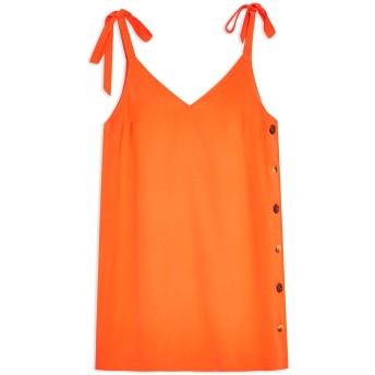 《9/20まで! 限定セール開催中》TOPSHOP レディース ミニワンピース&ドレス オレンジ 6 レーヨン 92% / ポリエステル 8% BUTTON MINI SLIP DRESS