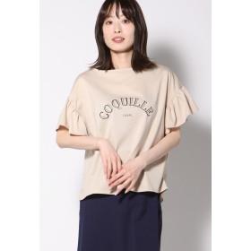 Ketty Cherie シルケット天竺LOGOギャザーTシャツ Tシャツ・カットソー,ベージュ