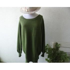 くさりライン ラングラン袖の綿セーター