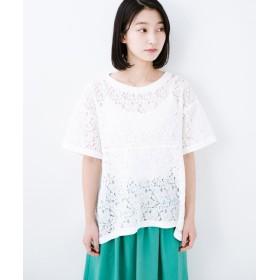 ハコ Tシャツ感覚で着られる便利なレースブラウス レディース ホワイト LL 【haco!】