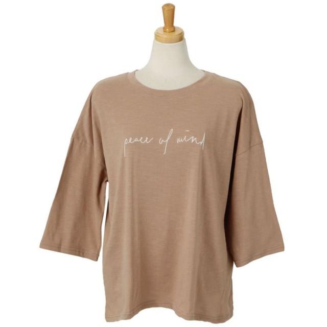 REAL STYLE リアルスタイル スラブ英字ロゴ刺繍Tシャツ レディース