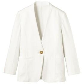 【レディース】 カットソーノーカラーVネックジャケット(吸汗速乾 洗濯機OK 選べる2レングス) ■カラー:オフホワイト(レギュラー丈) ■サイズ:S,M,L,LL,3L