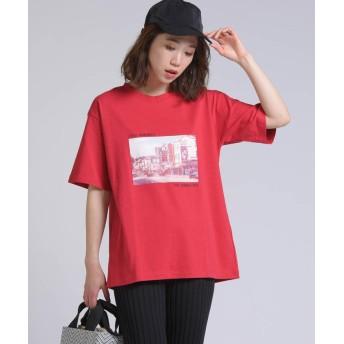 【70%OFF】 リップスター 転写プリントPHOTO Tシャツ レディース レッド M 【LIPSTAR】 【セール開催中】