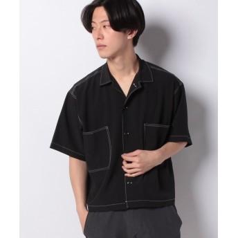 【40%OFF】 ウィゴー WEGO/配色ステッチ5分袖BIGシャツ メンズ ブラック M 【WEGO】 【タイムセール開催中】