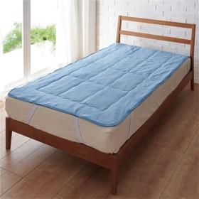 パッドシーツ(ひんやり感が長続き) - セシール ■カラー:ブルー ■サイズ:シングル(100×205cm)