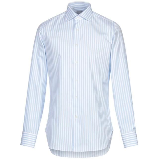 《期間限定セール開催中!》MICHEAL KURRIER Milano メンズ シャツ スカイブルー 38 コットン 100%
