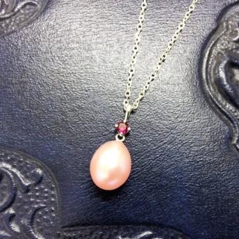 ピンクたまごレッドサファイア&SVネックレス【Pio】silver red saphire pink necklace