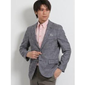 【TAKA-Q:ジャケット】グアベロ/GUABELLO 綿麻ウール 千鳥柄2釦シングルジャケット