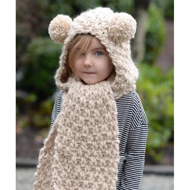 1e5ac5beb4b246 子ども用暖かいニット帽セット/ショール ハット/くま 耳保護ぼうし マフラー 落とさ