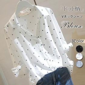 韓国ファッション半袖トップス アップ ゆったり ドット柄 レディース 可愛い シャツ