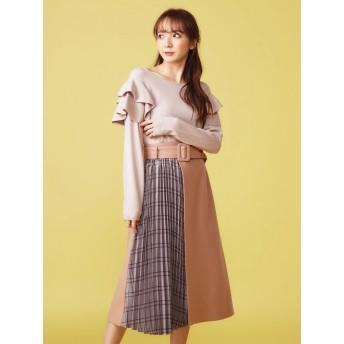 プリーツスカート - MIIA ベルト付きプリーツ切換えスカート