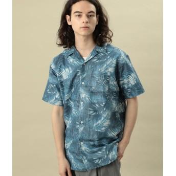 ジュンレッド/ライトリップルプリントオープンカラーシャツ/ブルー/M