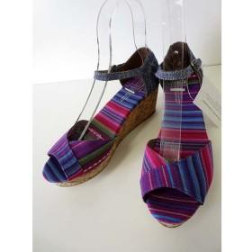 未使用品 トムス TOMS サンダル ウエッジサンダル ストライプ 25.5 紫 パープル ピンク くつ 靴 シューズ 大きいサイズ