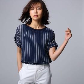アンタイトル UNTITLED 【洗える】ルーチェ ストライププリント シャツ (ネイビー)