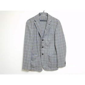 【中古】 エディフィス ジャケット サイズ48 XL メンズ ダークブラウン アイボリー ブルー チェック柄