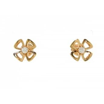 【中古】 ブルガリ BVLGARI ピアス 美品 フィオレヴァー K18PG ダイヤモンド