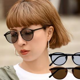 サングラス - coca ボストン型ライトカラーサングラス(薄い色 ウェリントン UVカット レディース ブラウン ブラック 19ss coca コカ)