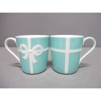【中古】 ティファニー TIFFANY & Co. マグカップ 新品同様 ブルーボウ ライトブルー 白 2点セット 陶器