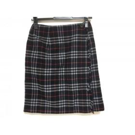 【中古】 バーバリーズ 巻きスカート サイズ9 M レディース ダークネイビー レッド マルチ チェック柄