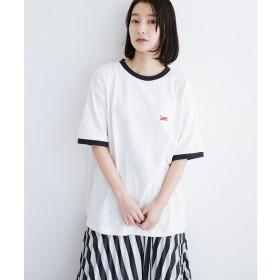 haco! Lady Lee ロゴ入りリンガーTシャツ(ホワイト)