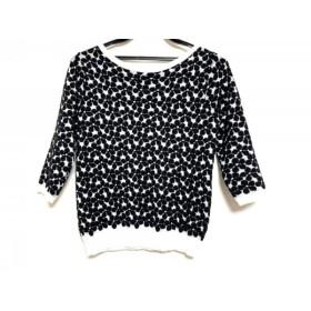 【中古】 グレースコンチネンタル 長袖セーター サイズ36 S レディース 美品 黒 白 フラワー