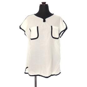 レディラックルカ LADY LUCK LUCA ポケット付き プルオーバー シャツ ブラウス パイピング フレンチスリーブ 白