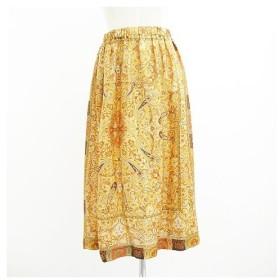 ローブドシャンブル COMME des GARCONS 美品 スカート ロング ペイズリー シルク オレンジ 【中古】