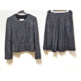 【中古】 ナチュラルビューティー スカートスーツ サイズ38 M レディース 美品 黒 グレー ライトグレー