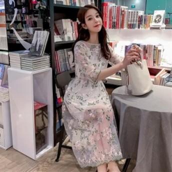 ワンピース レディース 2セット キャミソール チュール 刺繍 韓国風 着痩せ 気質 可愛い おしゃれ 夏 新作