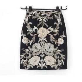 【中古】 グレースコンチネンタル スカート サイズ38 M レディース 美品 白 ベージュ 花柄刺繍