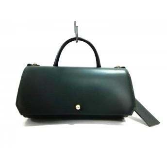 【中古】 ポティオール PotioR ハンドバッグ 美品 ダークグリーン 黒 レザー
