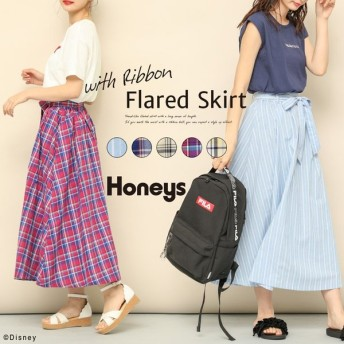 Honeys ハニーズ 共リボン付フレアスカート レディース