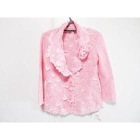 【中古】 ノコプリーツ NOKO PLEATS ジャケット サイズ40 M レディース 美品 ピンク 白