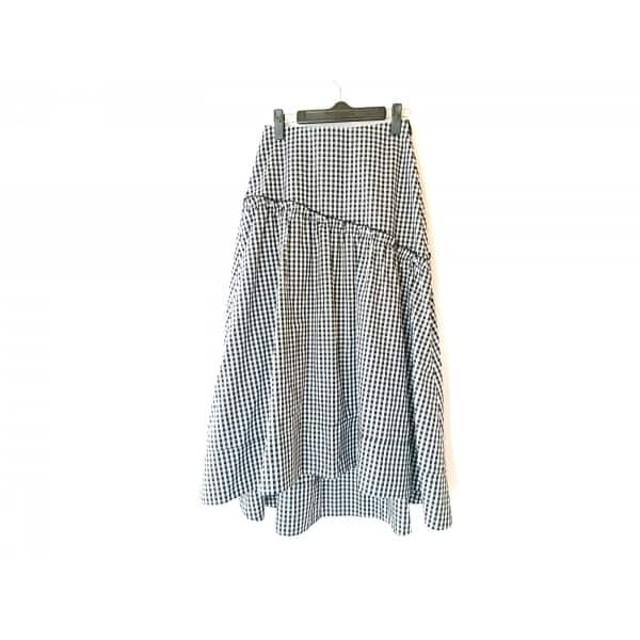 【中古】 ミラオーウェン Mila Owen ロングスカート サイズ0 XS レディース 美品 白 黒 チェック柄