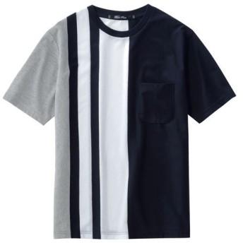 【メンズ】 大胆ストライプ柄の吸汗・速乾素材Tシャツ ■カラー:ネイビー系 ■サイズ:M,LL,3L,L,5L