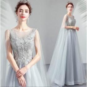 ドレス ウェディングドレス パーティードレス 花柄 レース 二次会 結婚式 披露宴 司会者 舞台衣装 花嫁 グレー ロングドレス