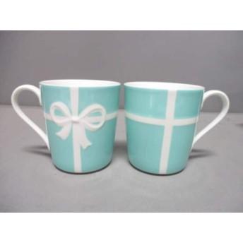 【中古】 ティファニー マグカップ 新品同様 ブルーボウ ライトブルー 白 マグカップ 2 陶器