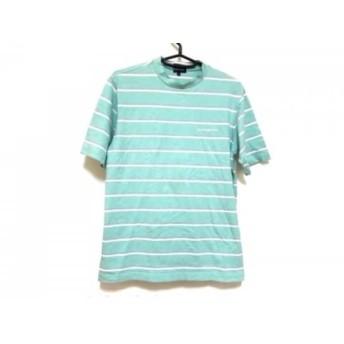 【中古】 パーリーゲイツ 半袖Tシャツ サイズ4 XL メンズ ライトブルー グレー 白 ボーダー