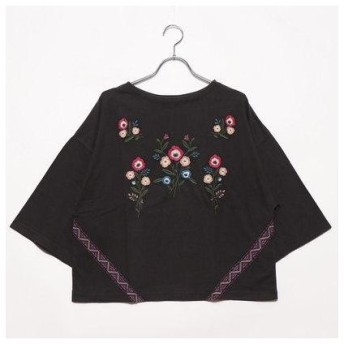 グリーンパークス Green Parks outlet W 花刺シュウワイド7分袖Tシャツ (ブラック)