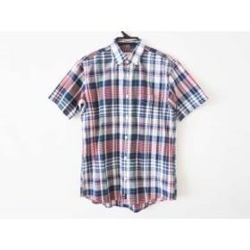 【中古】 バン VAN 半袖シャツ サイズM メンズ 白 ネイビー マルチ チェック柄