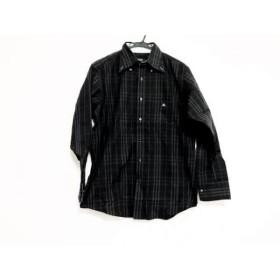 【中古】 バーバリーブラックレーベル 長袖シャツ サイズ3 L メンズ 黒 グレー チェック柄