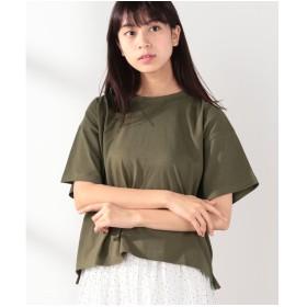 Samansa Mos2 18/ OE綿 半袖Tシャツ(カーキ)【返品不可商品】