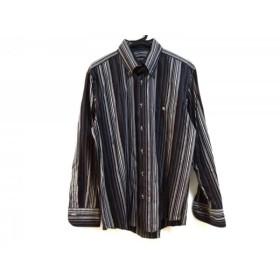 【中古】 バーバリーブラックレーベル 長袖シャツ サイズ3 L メンズ 黒 グレー ライトグレー