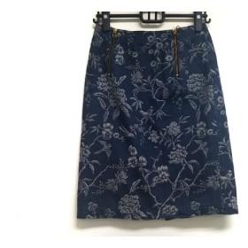 【中古】 ケイタマルヤマ KEITA MARUYAMA スカート サイズ1 S レディース ネイビー 白 花柄