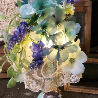 フラワー、母の日、多肉植物、ボタニカル、ランプシェード、ランプ、アイアン、アンティーク、爽やかブルー、プランツ、アジサイ