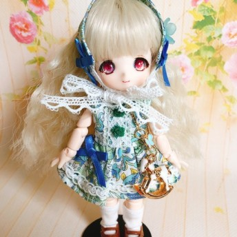 ドール服 オビツ11サイズリバティ生地使用ブルーの花柄ドレス3点セット